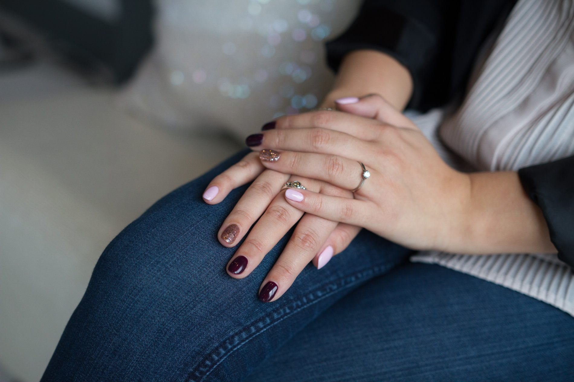 a client sitting in reception after her nail treatment
